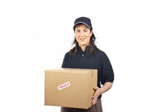 Delivering a package fragile Stock Photo