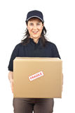 Delivering a package fragile royalty free stock photos