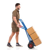 Delivering the packages stock photos