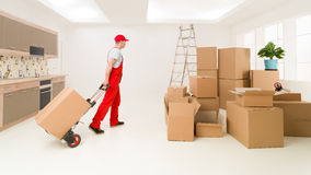 Delivering packages to new house Royalty Free Stock Photo