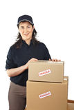 Delivering a parcels fragile Royalty Free Stock Photos