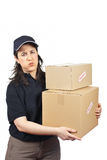 Delivering a parcels fragile Royalty Free Stock Image