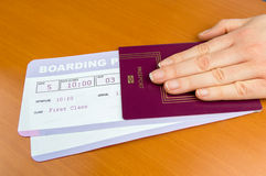 Delivering passport and boarding pass Stock Photos
