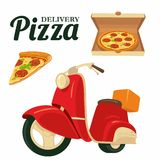 Delivering pizza on a red moped Pizza. Isolated  illustration on white background. For web, icon, banner, poster, menus, log. Delivering pizza on a red moped Stock Photo