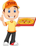 Delivering pizza. thumb up of cheerful young delivery man holding a pizza box while isolated on white background Stock Photography