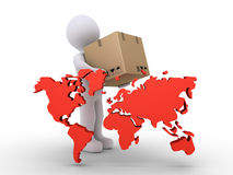 Delivering to the whole world. 3d person holding a packet is behind the world map Royalty Free Stock Image