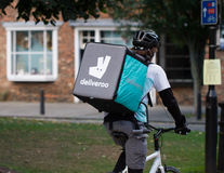 Deliveroo Cyclist Delivery Man stock images