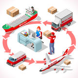 Delivery 02 Infographic Isometric Royalty Free Stock Images