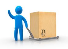 Delivery. Blue men transporting large box usig hand truck Stock Photo