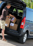 Delivery. Parcel delivery with  parcel label barcode scanning Stock Photography