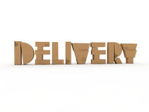 Delivery. Stacks of cardboard boxes spelling the word delivery stock illustration