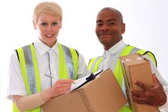 Delivery. Image of a  delivery men and women at work with a smile r Royalty Free Stock Photos