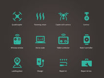 Delivery air drone icons set. Stock Images