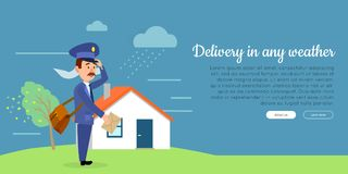 Delivery in any Weather Flat Vector Web Banner Stock Photos