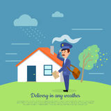 Delivery in any Weather. Postman Delivers Letters Royalty Free Stock Photo