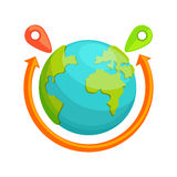 Delivery around the world concept. Globe With Red Arrow Rotating. Stock Photography