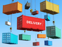Delivery background concept. Cargo shipping containers in storage Royalty Free Stock Image