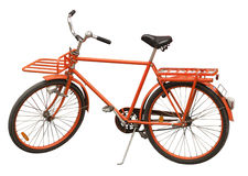 Delivery Bicycle. An orange delivery bicycle isolated on a white bckground Royalty Free Stock Photo