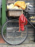 Delivery Bicycle. A delivery bicycle display outside a restaurant Royalty Free Stock Photo
