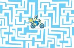 Delivery bike lost in maze. Cartoon illustration of lost delivery boy stranded in maze vector illustration