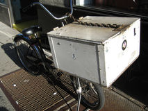 Delivery bike nyc. On sunny day stock photography