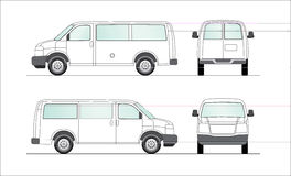 Delivery blank white van illustration. This is a clipart of a delivery blank van for layout presentation. Vectorial image. Color can be changed for additional Stock Photography