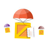 Delivery Box. Air Mail Parachute Stock Photo