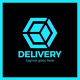 Delivery Box Arrow Logotype. Colorful gradient style. Delivery Box Arrow Logotype. Colorful gradient style stock illustration
