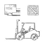 Delivery box, crate and forklift truck Royalty Free Stock Image