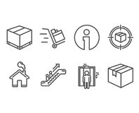 Delivery box, Elevator and Parcel tracking icons. Escalator, Push cart and Parcel signs. Set of Delivery box, Elevator and Parcel tracking icons. Escalator Royalty Free Stock Photo