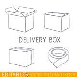 Delivery box icon set. Editable vector graphic in linear style Stock Images