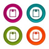Delivery box icons. Shipping box signs. Shopping symbol. Colorful web button with icon. Delivery box icons. Shipping box signs. Shopping symbol. Colorful web royalty free illustration