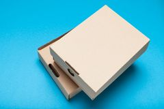 Delivery box parcel, craft cardboard stock images