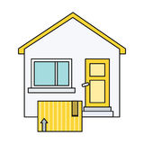Delivery Box to Home House Design Flat Royalty Free Stock Image