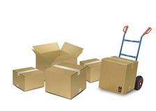 Delivery boxes. Image of delivery boxes over white Royalty Free Stock Image