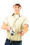 Delivery Boy Asking You To Sign a Receipt Stock Image