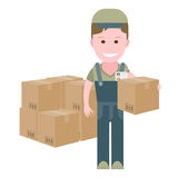Delivery boy with boxes Royalty Free Stock Images