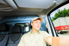 Delivery Boy Driving royalty free stock images