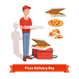 Delivery boy holding pizza cardboard box Royalty Free Stock Photography