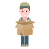 Delivery boy with open empty box Stock Photography