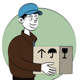Delivery boy with package Stock Photo