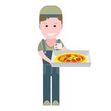 Delivery boy with a pizza box Stock Images