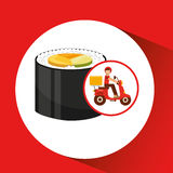 Delivery boy ride motorcycle japanese cuisine Royalty Free Stock Image