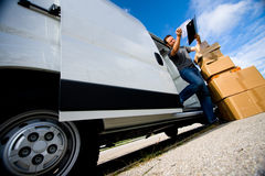 Delivery Boy With Van royalty free stock photos