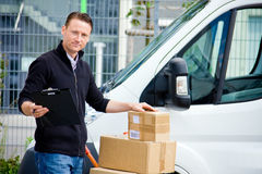 Delivery Boy With Van stock image