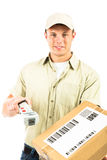 Delivery Boy On White Royalty Free Stock Photography