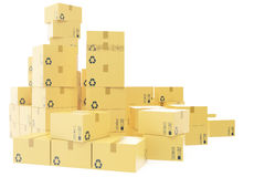 Delivery business concept, stack of corrugated cardboard box, packages isolated on white. 3d rendering Royalty Free Stock Photography