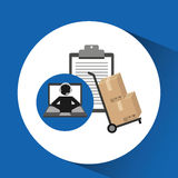 Delivery call centre operator online clipboard and hand truck box Stock Images