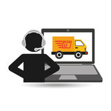 Delivery call centre operator online fast delivery truck. Vector illustration eps 10 Stock Image
