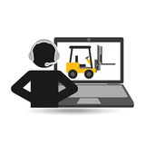 Delivery call centre operator online forklift truck Stock Photography